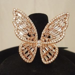 Jewelry - Butterfly statement ring in rose gold over silver